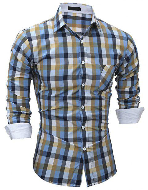 Fashionable Color Men's Casual Slim Long-Sleeved Shirt - multicolor A L