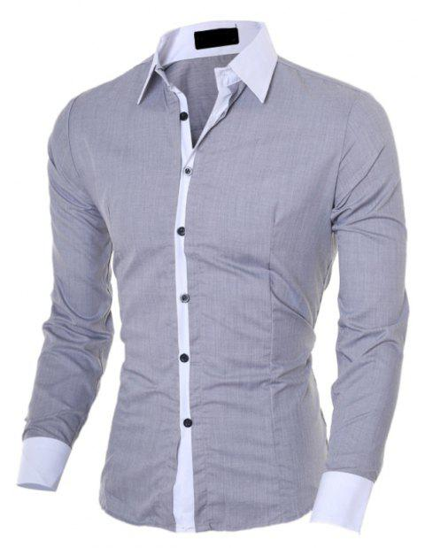 Men's Slim Casual Collar Color  Long Sleeve Shirt - GRAY 2XL
