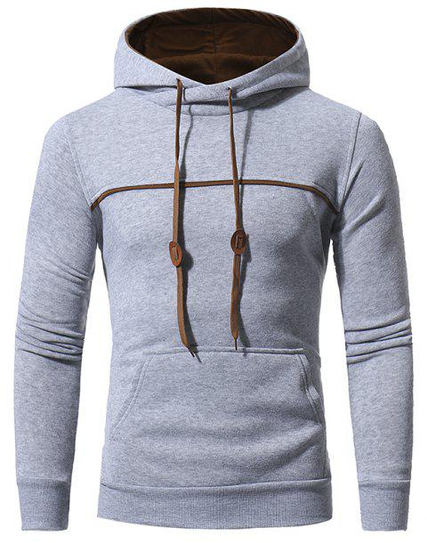 Men's Casual Hooded Turtleneck Sweatshirt - LIGHT GRAY 2XL