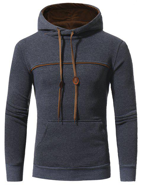 Men's Casual Hooded Turtleneck Sweatshirt - DARK GRAY 3XL