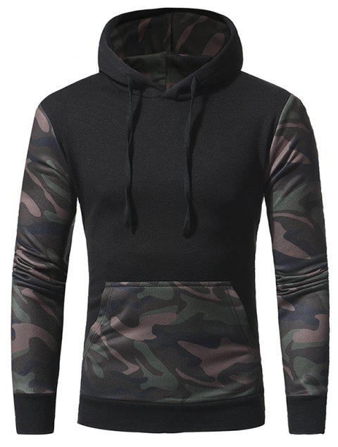 Men's Casual Slim Hooded Pullover Sweatshirt - BLACK 3XL