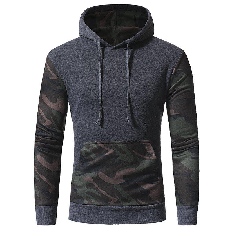 Men's Casual Slim Hooded Pullover Sweatshirt - DARK GRAY 3XL