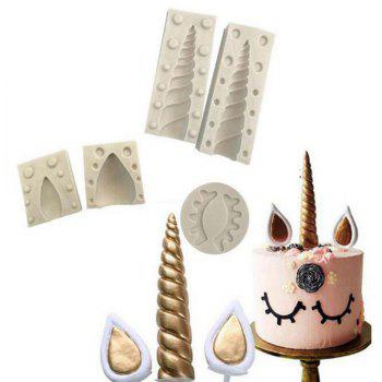 3D Unicorn Ear Eye Silicone Mold Baking Tool Birthday Cake Fondant Sugarcraft - LIGHT GRAY