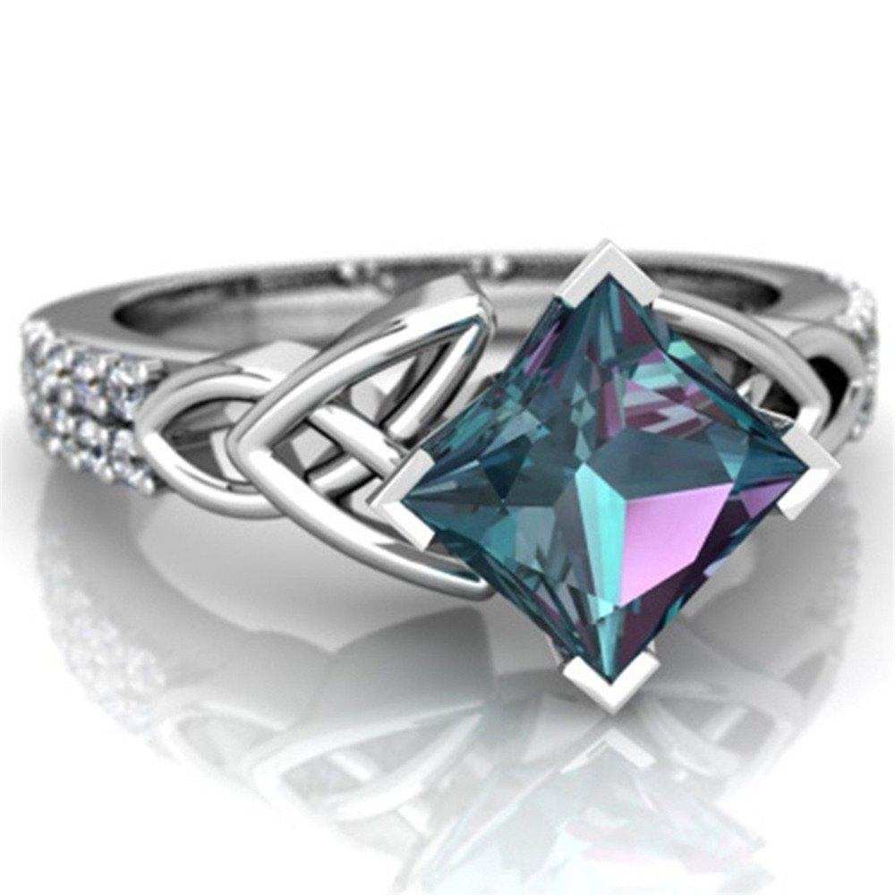 Exquisite Jewelry Princess Mystic Rainbow Ring - BLUE GREEN US SIZE 7