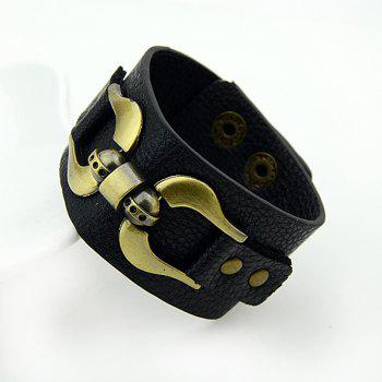 Leather and Metal Geometry Wrap Bracelet - BLACK