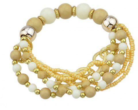 Colorful Multi-storey Bead Chain Bracelet - TAN BROWN