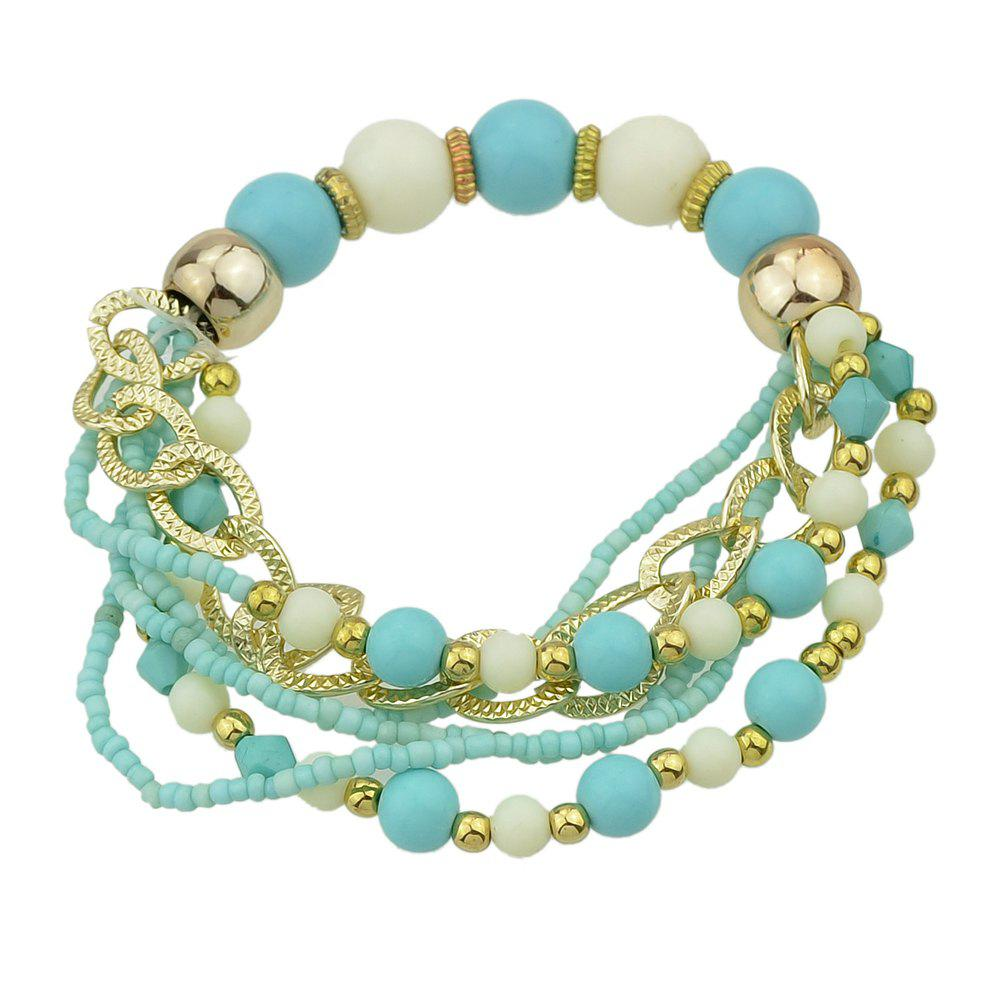 Colorful Multi-storey Bead Chain Bracelet - BLUE LAGOON