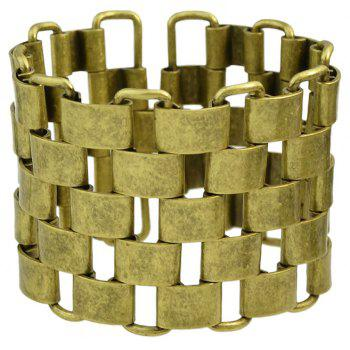 Metal Chain Geometric Hollow-out Wide Bracelet - COOKIE BROWN
