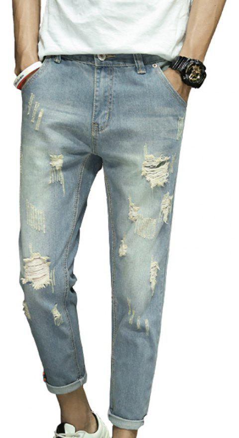 Men's Fashion Trend Ripped Jeans - LIGHT BLUE 28