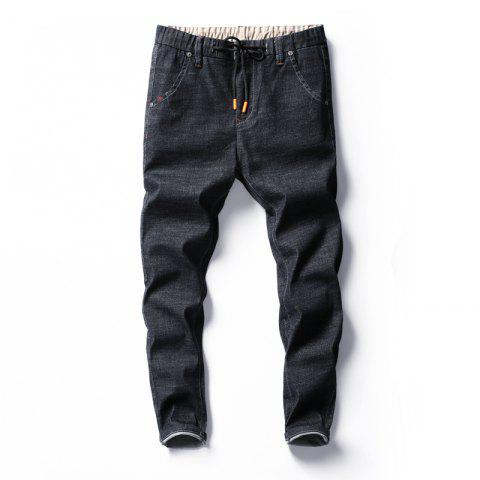 Men's Fashion Trend Elastic Jeans - BLACK 28