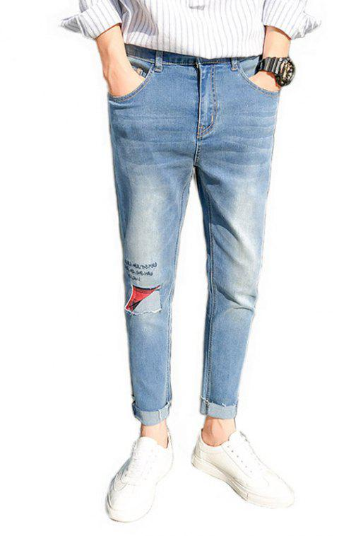 Men's Casual Style Stretch Jeans - LIGHT BLUE 33