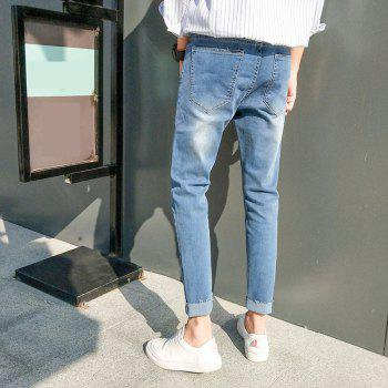 Men's Casual Style Stretch Jeans - LIGHT BLUE 34