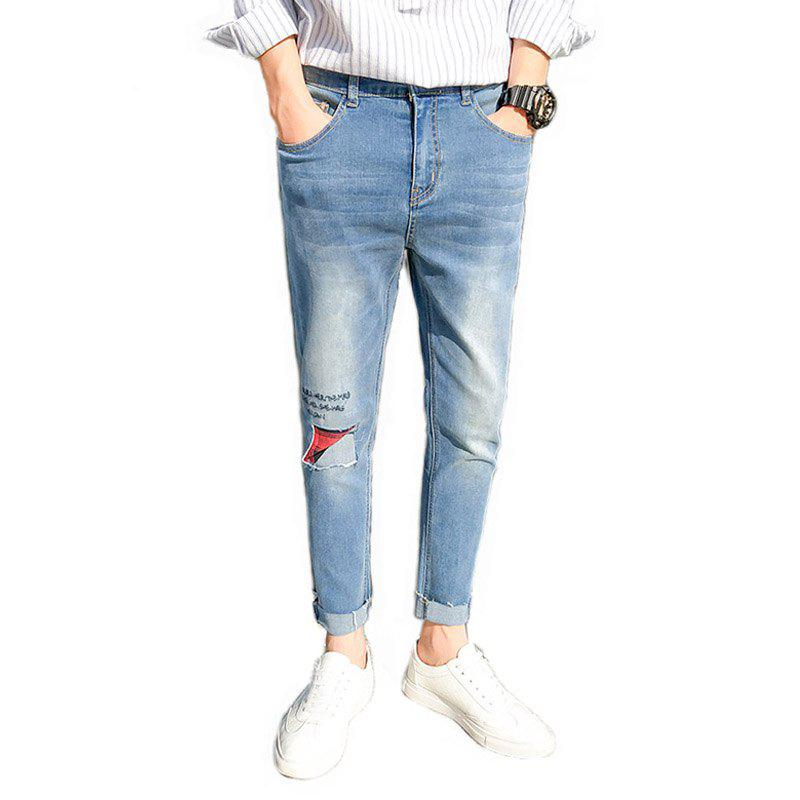 Men's Casual Style Stretch Jeans - LIGHT BLUE 29