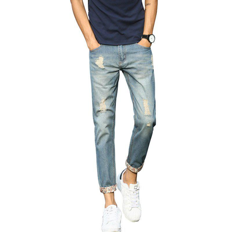 Men's Slim Stretch Casual Jeans - LIGHT BLUE 36