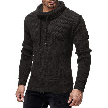 Men's Fashion Solid Color Casual Wild Slim Long-sleeved Turtleneck Sweater - BLACK M