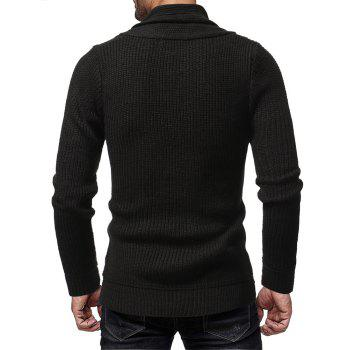 Men's Fashion Solid Color Casual Wild Slim Long-sleeved Turtleneck Sweater - BLACK XL