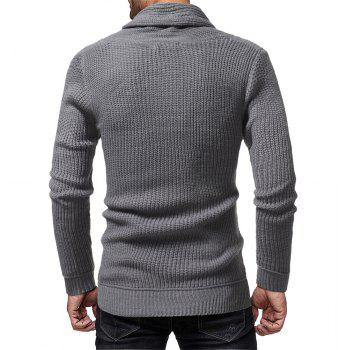 Men's Fashion Solid Color Casual Wild Slim Long-sleeved Turtleneck Sweater - GRAY L
