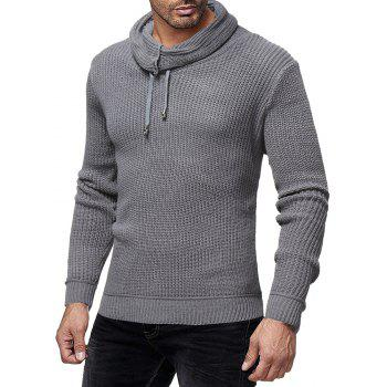 Men's Fashion Solid Color Casual Wild Slim Long-sleeved Turtleneck Sweater - GRAY 2XL
