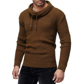 Men's Fashion Solid Color Casual Wild Slim Long-sleeved Turtleneck Sweater - BROWN 2XL