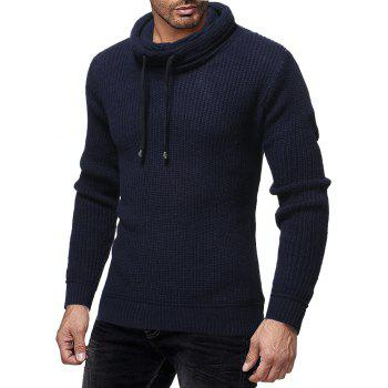 Men's Fashion Solid Color Casual Wild Slim Long-sleeved Turtleneck Sweater - CADETBLUE L