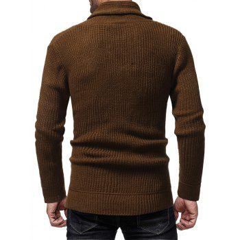 Men's Fashion Solid Color Casual Wild Slim Long-sleeved Turtleneck Sweater - BROWN M