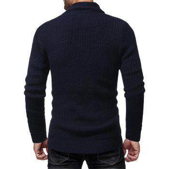 Men's Fashion Solid Color Casual Wild Slim Long-sleeved Turtleneck Sweater - CADETBLUE XL