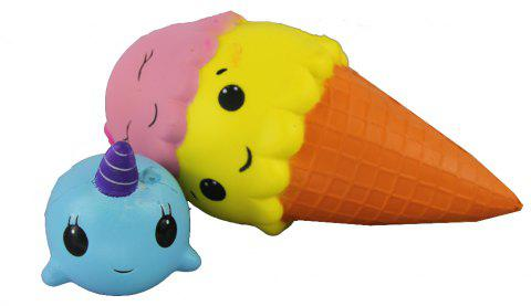 2PCS Jumbo Squishy Ice Cream and Blue Whale Toys - multicolor A