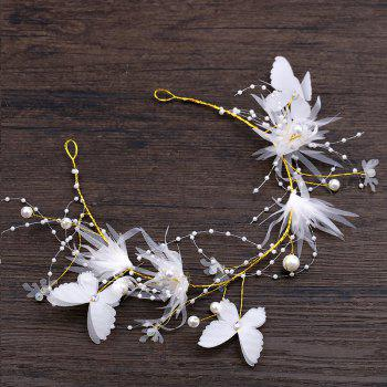 Bride Accessory Butterfly Hair Band Hair Clip Suit - COOL WHITE FJ6 X 13CM