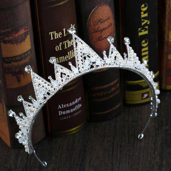 Bride Accessory White Crystal Crown - COOL WHITE 6.5 X 35.5CM