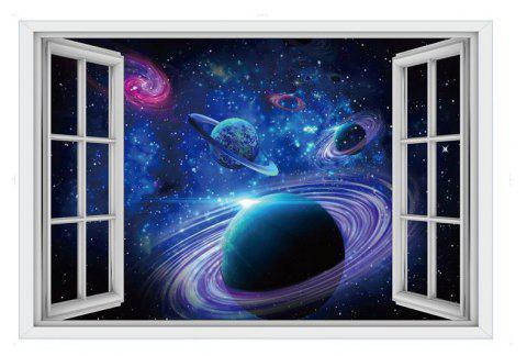 3D Planet Dolphin Shark Fake Window Wall Stickers Decorative Painting - multicolor A