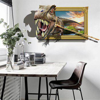 3D Planet Dolphin Shark Fake Window Wall Stickers Decorative Painting - multicolor D