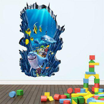3D Planet Dolphin Shark Fake Window Wall Stickers Decorative Painting - multicolor B