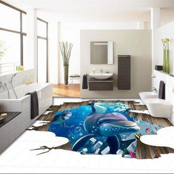 3D Planet Dolphin Shark Fake Window Wall Stickers Decorative Painting - multicolor C