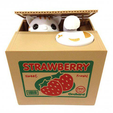 Creative Itazura Kitty Cat Steal Money Coin Box - RED