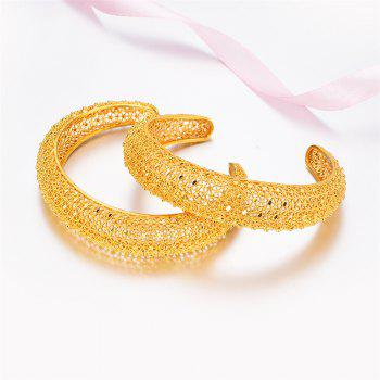 2PCS/LOT Openwork Hollow Bracelet Bangle - YELLOW