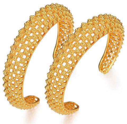 Two Bangles Ethnic Hollow Bracelet - YELLOW