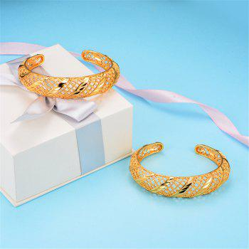 Two Pcs/Lot Hollow Bracelet bangles - YELLOW