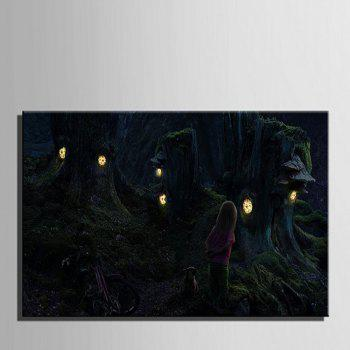 Stretched LED Canvas Print Art The World of Magic Flash - multicolor A 16 X 24 INCH (40CM X 60CM)