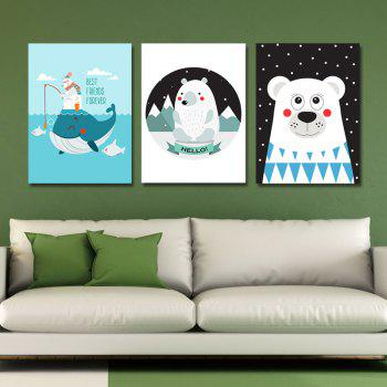 3PCS Cute Cartoon Fun Print Art - multicolor