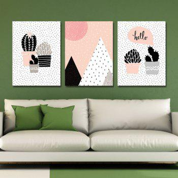 3PCS belles plantes en pot impression Art - multicolor