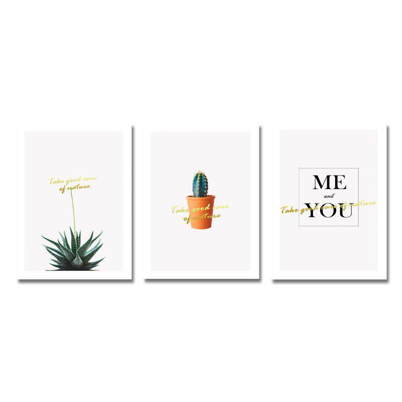 3PCS Lovely Small Potted Plants Print Art - multicolor