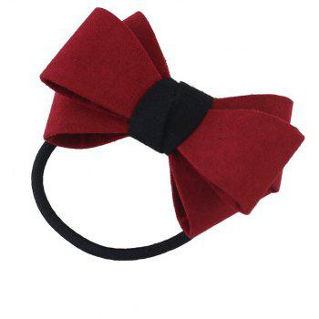 Elastic Rope Chain with Colorful Flannel Bowknot Headband - CRANBERRY