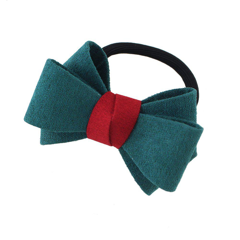 Elastic Rope Chain with Colorful Flannel Bowknot Headband - GREENISH BLUE