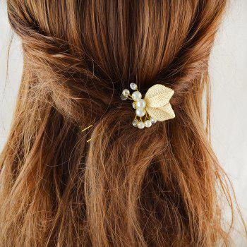 Fashion Gold Plated Bead Leaf Shape Hairpin - GOLD