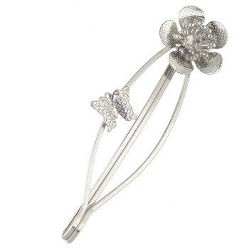 Simple Metal Flower Hairpin for Girls - SILVER