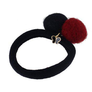 Colorful Double Pompon Elastic Hair Rope Hairband - multicolor A