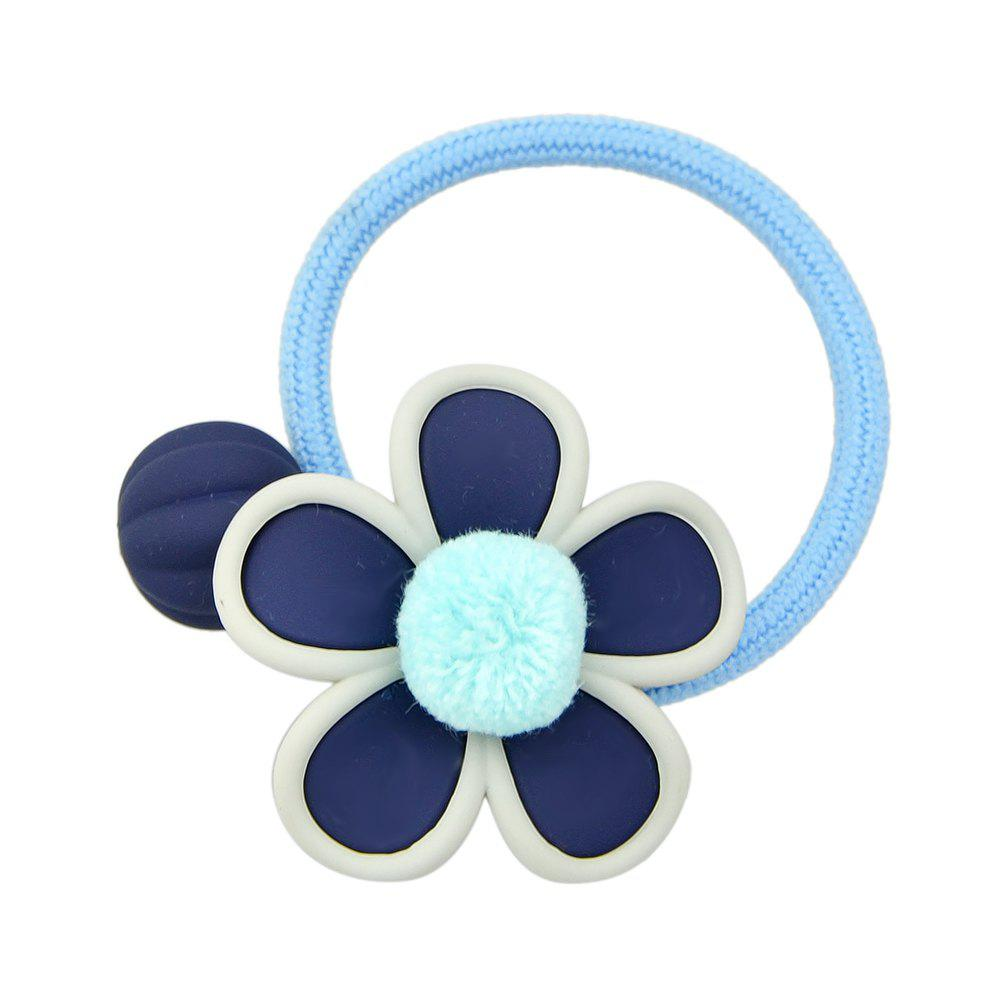 Simple Model Elastic Rope with Flower Hairband - DEEP BLUE