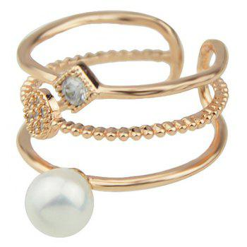 Fashion Bead Rhinestone Wide Cuff Ring for Women - GOLD RESIZABLE