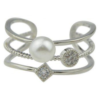 Fashion Bead Strass Large Cuff Ring pour les femmes - Argent RESIZABLE