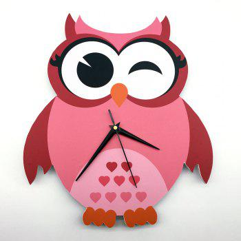 3D Pink Owl Wall Clock Dormitory Bedroom Decoration Gift for Student - multicolor